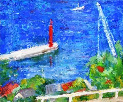 画像1: 赤い灯台  F8号     油彩