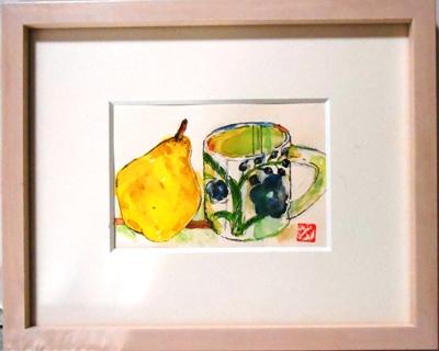 画像1: マグカップと洋梨  ミニアチュール  葉書サイズ  ペンに水彩