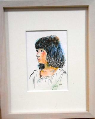 画像1: 少女  ミニアチュール 葉書サイズ  ペンに水彩