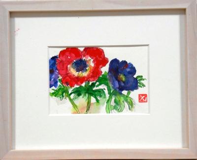 画像1: アネモネ  ミニアチュール  葉書サイズ   ペンに水彩