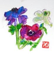 画像1: アネモネ   カット   ペンに水彩