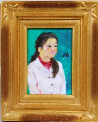画像1: 少女   ミニアチュール  葉書サイズ   油彩