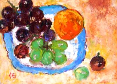 画像1: 皿の葡萄   F4号   油彩
