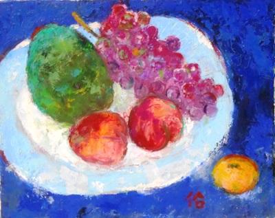 画像1: 皿の果物    F3号   油彩