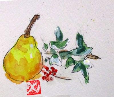 画像1: 洋梨と。   カット    ペンに水彩