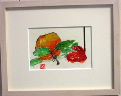 画像1: ぽんかんと苺  ミニアチュール  葉書サイズ  ペンに水彩