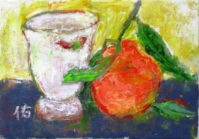 画像1: 陶器のマグカップにぽんかん   SM   油彩