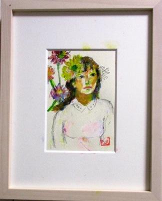 画像1: ガーベラを  ミニアチュール  葉書サイズ  ペンに水彩