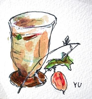 画像1: 陶器のマグカップに烏瓜   カット    ペンに水彩