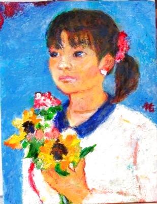 画像1: 花束を持つ    F6号     油彩
