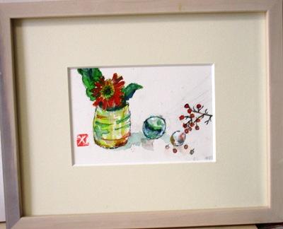 画像1: ガーベラとビー玉  ミニアチュール  葉書サイズ  ペンに水彩