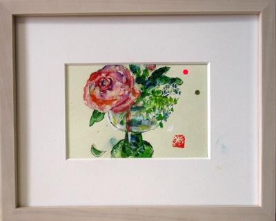 画像1: ワイングラスに花を  ミニアチュール  葉書サイズ   ペンに水彩