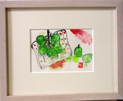 画像1: 皿にマスカット  ミニアチュール  葉書サイズ  ペンに水彩