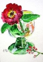 画像1: お花のカット   ペンに水彩