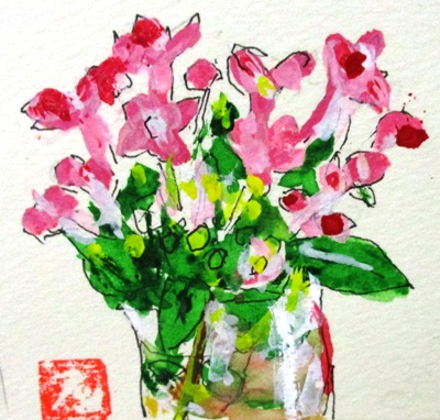 画像1:  ガラスに花。  カット    ペンに水彩