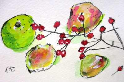 画像1: すだちと貝と実と   カット   ペンに水彩