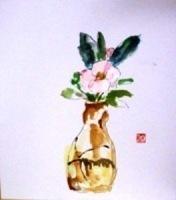 画像1: 椿   色紙   ペンに水彩