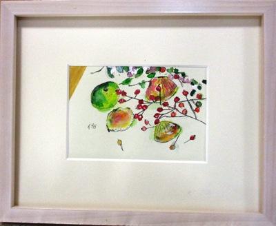 画像1: すだちと貝と実と    ミニアチュール  葉書サイズ  ペンに水彩