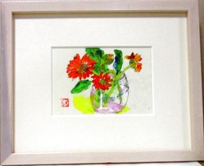 画像1:  ガラス瓶に花。   ミニアチュール  葉書サイズ  ペンに水彩