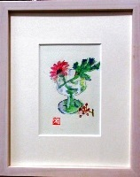 画像1: 一輪のガーベラ   ミニアチュール  ペンに水彩   葉書サイズ