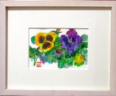 画像1: パンジー  ミニアチュール   葉書サイズ   ペンに水彩