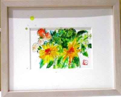画像1: 花々。   ミニアチュール  葉書サイズ   ペンに水彩