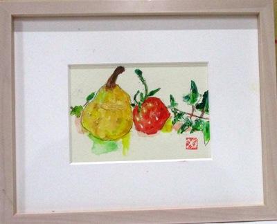 画像1: 洋梨と苺とアイビー   ミニチュアール   葉書サイズ  ペンに水彩