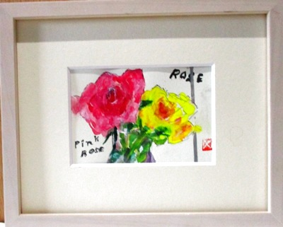 画像1: 2輪のバラ   ミニアチュール    葉書サイズ  ペンに水彩