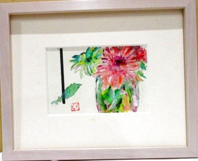 画像1: お花   ミニアチュール   葉書サイズ   ペンに水彩