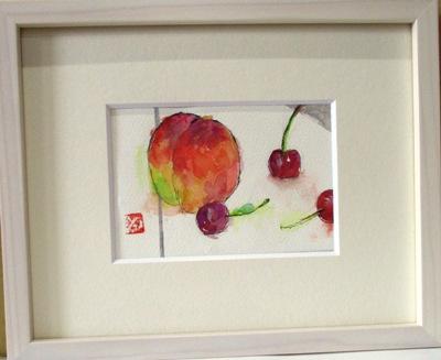 画像1: 桃とさくらんぼ    ミニアチュール   葉書サイズ   ペンに水彩