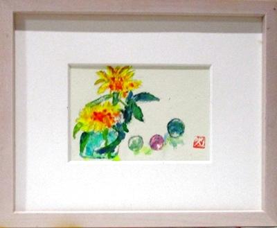 画像1: 花とビー玉   ミニアチュール   葉書サイズ   ペンに水彩