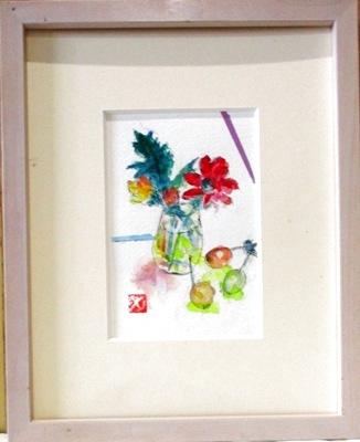 画像1: グラスにガーベラ   ミニアチュール 葉書サイズ  ペンに水彩