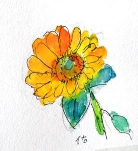 画像1: ひまわり   カット    ペンに水彩