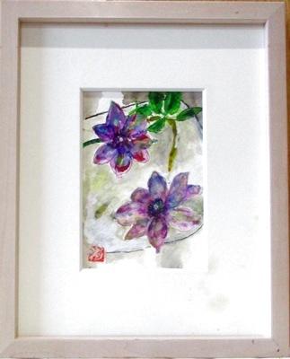 画像1: ガラス皿のクレマチス   ミニアチュール  葉書サイズ   ペンに水彩