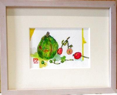 画像1: 姫リンゴと小カボチャ  ミニチュアール  葉書サイズ  ペンに水彩