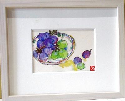 画像1: 皿の葡萄   ミニアチュール   葉書サイズ  ペンに水彩