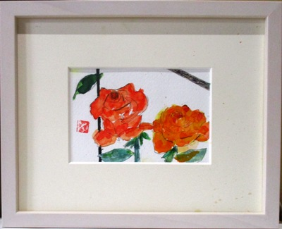 画像1: ばら  ミニアチュール   葉書サイズ   ペンに水彩