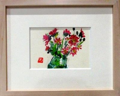画像1: 小菊  ミニアチュール  葉書サイズ  ペンに水彩