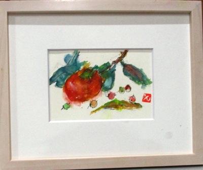 画像1: 柿と実と   ミニアチュール    葉書きサイズ    ペンに水彩