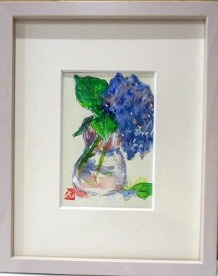 画像1: 紫陽花   ミニアチュール   葉書サイズ   ペンに水彩