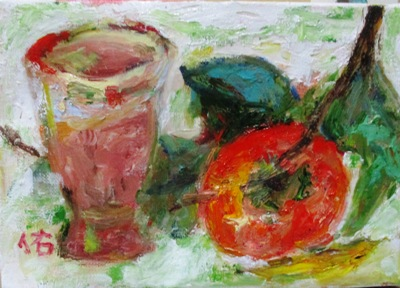 画像1: マグカップに柿    SM    油彩