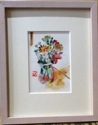 画像1: 小菊   葉書サイズ    ペンに水彩