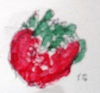 画像1: ひとつの苺    カット     ペンに水彩