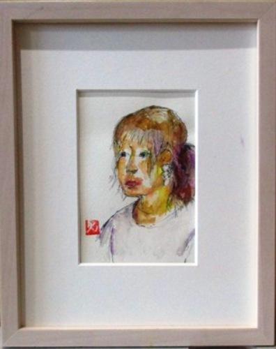 画像1: バイオレット・ポニーテール   葉書サイズ  ペンに水彩
