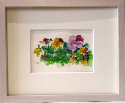 画像1: 春の花々      葉書サイズ     ペンに水彩
