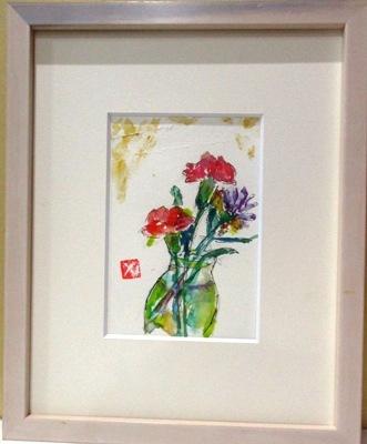 画像1: ビンの花     葉書サイズ       ペンに水彩