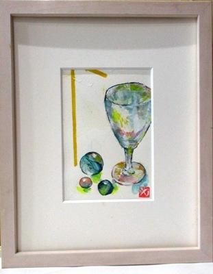 画像1: ワイングラスとビー玉    葉書サイズ      ペンに水彩