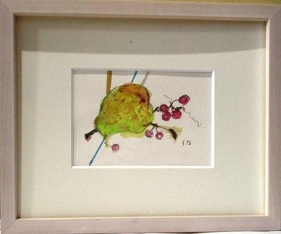 画像1: 洋梨に実       葉書サイズ      ペンに水彩