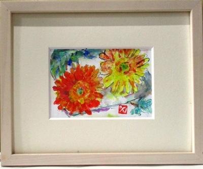 画像1: 2輪のガーベラ     ペンに水彩      ペンに水彩