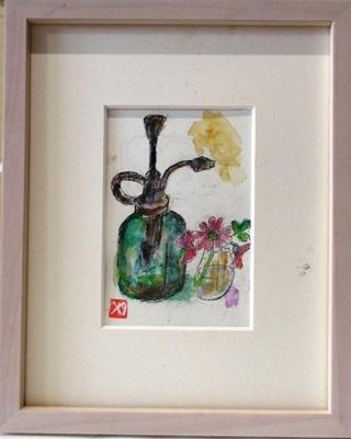 画像1: 噴霧器に小花をそえて。    葉書サイズ     ぺんに水彩